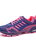 Women's Sneakers  Comfort Couple Shoes Light Soles Tulle Athletic Flat Heel Lace-up Red Purple Dark Blue Running Shoes