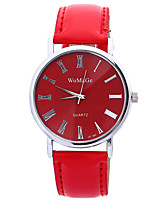 Women's Men's Unisex Fashion Watch Quartz Leather Band Casual Black White Red Brown