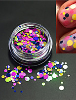 1Bottle Fashion Round Slice Decoration Sweet Color Nail Art Laser Glitter Round Paillette Nail Art DIY Beauty Slice P22