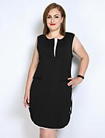 Для женщин На каждый день Вечеринка/коктейль Большие размеры Секси Простое Очаровательный Свободный силуэт Прямое Черный и белый Платье
