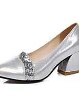Women's Heels Spring Summer Comfort Leatherette Dress Casual Chunky Heel Buckle Silver Black Gold Walking
