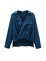 Women's Casual/Daily Simple Blouse,Solid V Neck Long Sleeve Cotton Opaque Thin
