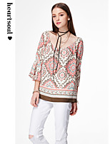 Women's Going out Casual/Daily Beach Simple Boho Cute Summer Blouse,Geometric Print V Neck ¾ Sleeve Polyester Sheer Opaque
