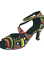Customizable Women's Latin Ballroom Dance Shoes Geomatric Salsa Dancing Shoes Sandals Customized Heel Performance Black/Red