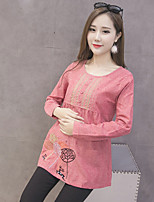 Women's Casual/Daily Simple T-shirt,Floral Round Neck Long Sleeve Cotton Thin