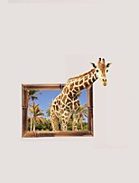 3D Cartoon Giraffe Wall Stickers PVC Deer Beauty Scenery Coconut Tree Wall Decals Home Decoration for Kids Room