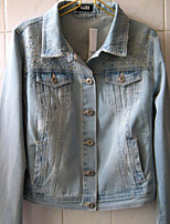 Women's Casual/Daily Simple Winter Denim Jacket,Solid Shawl Lapel Regular Cotton