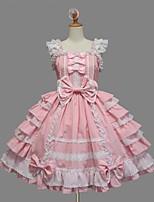 Women's Lolita Dress Cosplay Girl Gothic Lolita Lace-up Princess Cosplay Lolita Dress Solid Bowknot Cap Sleeveless Short / Mini Legguards For Cotton