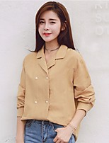 Women's Casual/Daily Simple Shirt,Solid Square Neck Long Sleeve Linen