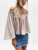 Women's Going out Casual/Daily Beach Sexy Street chic Summer Shirt,Solid Boat Neck Long Sleeve Polyester