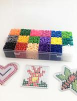 Approx 5400PCS 18 Color 5MM Fuse Beads Set with 3PCS Random Mixed Shape Template Clear Pegboard Heart Hexagram DIY Jigsaw(Set A18*300PCS)