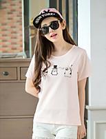 Damen Solide Einfach Lässig/Alltäglich T-shirt,Rundhalsausschnitt Kurzarm Kunstseide