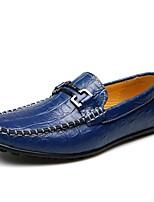 Синий-Для мужчин-Для офиса Повседневный-Кожа-На плоской подошве-Удобная обувь-Мокасины и Свитер