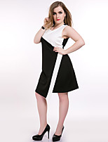 Women's Plus Size Casual/Daily Party Sexy Vintage Street chic Shift Sheath Black and White Dress,Color Block Patchwork Round Neck Midi
