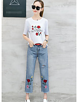 Women's Casual/Daily Simple T-shirt Pant Suits,Floral Round Neck 1/2 Length Sleeve