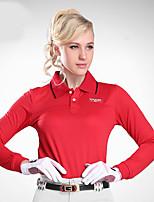 Жен. Длинные рукава Гольф Верхняя часть Дышащий Впитывает пот и влагу Удобный Белый Красный Гольф Спорт в свободное время