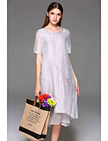 YANG X-M Women's Going out Casual/Daily Chinoiserie Loose DressSolid Round Neck Knee-length Short Sleeve Silk Spring Summer Mid Rise Inelastic