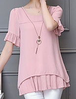 Women's Casual/Daily Simple Blouse,Solid Round Neck Short Sleeve Polyester Thin