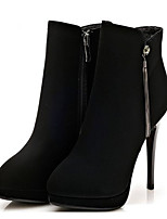 Черный-Для женщин-Повседневный-ПолиуретанУдобная обувь-Обувь на каблуках