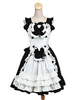 Tenus de Servante Doux Rococo Cosplay Vêtrements Lolita Couleur unie Sans manche Genou Robe Tablier Pour Tissu Matelassé