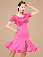 Shall We Latin Dance Dresses Women Performance Polyester Rhinestones Lace Ruffles Split Front Tassel(s) 2 Pieces