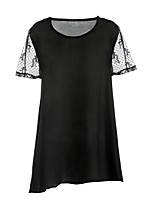 Women's Going out Simple Fall Blouse,Solid Round Neck Short Sleeve Polyester