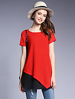 Women's Going out Casual/Daily Street chic Summer T-shirt,Solid Round Neck Short Sleeve Polyester Medium