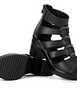 Sandály-Kůže-Pohodlné-Dámské--Běžné-Kačenka Block Heel