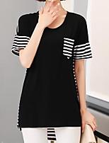Feminino Camiseta Casual SimplesListrado Algodão Decote Redondo Manga Curta Fina
