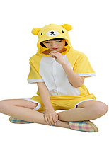 Kigurumi Pajamas Bear Leotard/Onesie Festival/Holiday Animal Sleepwear Halloween Yellow Solid Cotton Cosplay Costumes Kigurumi ForUnisex