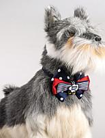 Cat Dog Adjustable  Polka Dots Collar Bowtie With Bells