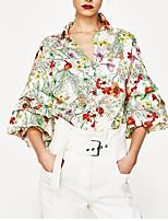 Women's Going out Casual/Daily Holiday Vintage Simple Street chic Summer Shirt,Plaid V Neck ½ Length Sleeve Polyester