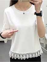 Women's Casual/Daily Simple Street chic Spring Summer T-shirt,Solid Round Neck Short Sleeve Polyester Medium