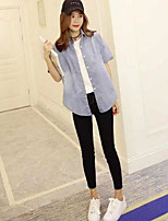 Women's Casual/Daily Simple Shirt,Solid Shirt Collar Short Sleeve Others