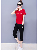 Women's Casual/Daily Sports Active T-shirt Pant Suits,Letter Round Neck Micro-elastic