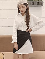 Women's Going out Vintage Shirt Skirt Suits,Solid Shirt Collar Long Sleeve