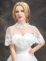 Women's Wedding Wrap Capelets Lace Tulle Wedding Party/Evening Appliques Embroidery Flower(s) Lace Rhinestone Grace Bride Shawl White