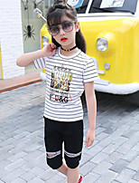 Girls' Casual/Daily Sports Striped Print Sets,Cotton Summer Short Sleeve Clothing Set