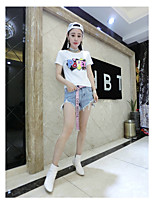 Women's Casual/Daily Cute T-shirt,Letter Round Neck Short Sleeve Cotton