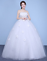 A-line Wedding Dress Floor-length Strapless Cotton Tulle with Appliques Lace Sequin
