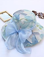 Women's Handmade Artificial Flower Mesh Floral Summer Or Spring Simple Sun Heart Print Bucket Hats Caps