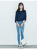 Women's Casual/Daily Simple Shirt,Polka Dot Round Neck Long Sleeve Others