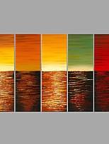 Pintados à mão Abstrato Horizontal,Moderno Estilo Europeu 5 Painéis Tela Pintura a Óleo For Decoração para casa