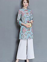 Women's Casual/Daily Simple Shirt Pant Suits,Print Stand