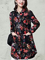 Women's Casual/Daily Simple Shirt,Floral Shirt Collar Long Sleeve Linen