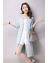 Women's Casual/Daily Long Cardigan,Solid Round Neck Long Sleeve Nylon Summer Medium Micro-elastic