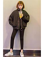 Damen Solide Retro Lässig/Alltäglich Polo,Rundhalsausschnitt Herbst Langarm Baumwolle Undurchsichtig