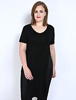 Feminino Camiseta Casual Férias Tamanhos Grandes Sensual Simples Fofo Primavera Verão,Sólido Modal Decote V Manga Curta Média