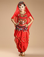 Shall We Belly Dance Outfits Kid Performance Chiffon Spandex Coins Sequins 4 Pieces Dance Costumes