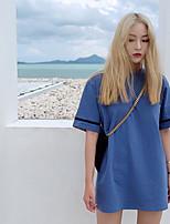 Damen Einfarbig Street Schick Ausgehen T-shirt,Rundhalsausschnitt Kurzarm Baumwolle